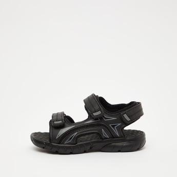 Printed Sandals with Hook and Loop Closures