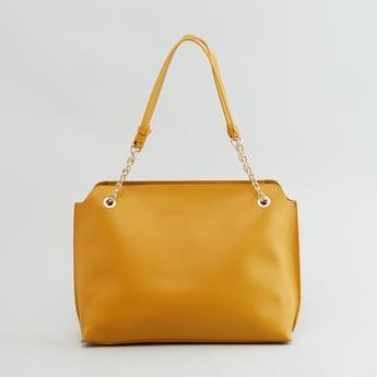 Textured Handbag with Zip Closure and Twin Handles