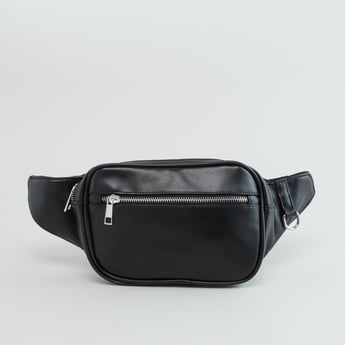 Plain Belt Bag with Zip Closure and Adjustable Strap
