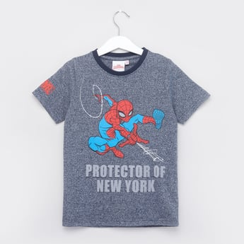 Spider-Man Printed T-shirt with Round Neck and Short Sleeves