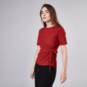 Textured T-shirt with Short Sleeves and Knot Detail