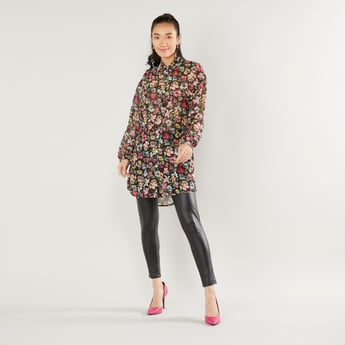 Floral Print Longline Shirt with Spread Collar and Long Sleeves