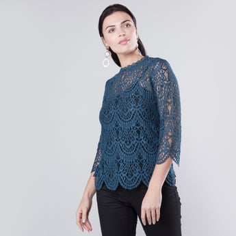 Lace Detailed Top with Round Neck and 3/4 Sleeves