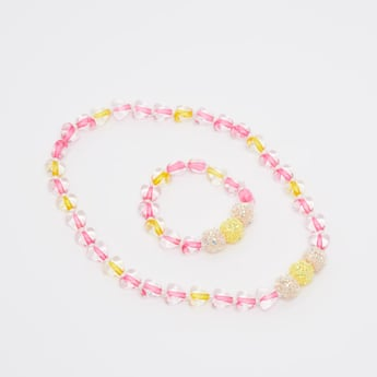 Bead Detail Necklace and Bracelet Set