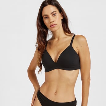 Solid Padded Non-Wired Plunge Bra with Hook and Eye Closure