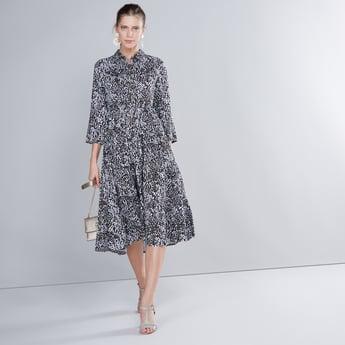 Animal Printed Midi Shirt Dress with 3/4 Sleeves