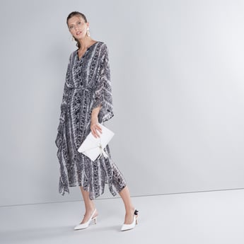 Animal Printed A-line Midi Kaftan Dress