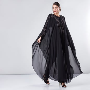 Embellished Farasha Cut Abaya with V-Neck