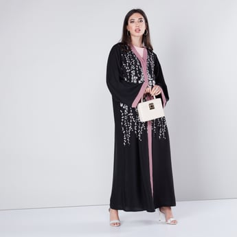 Embroidered Abaya with Long Sleeves and Pearl Accent