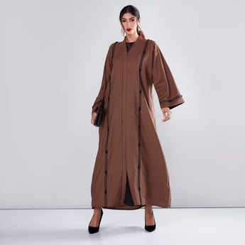 Beaded Abaya in Straight Cut with Long Sleeves
