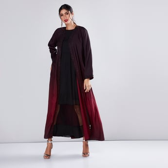 Ombre Printed Abaya with Long Sleeves