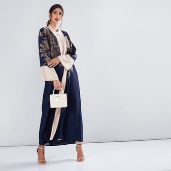 Embroidered Abaya with Flared Sleeves