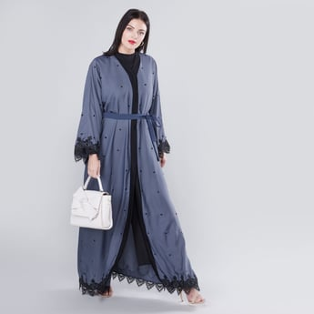 Full Length Lace Detail Abaya with Tie Ups and Long Sleeves
