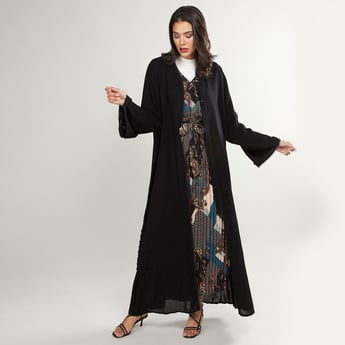 Embellished Abaya with Long Sleeves and Tie Ups