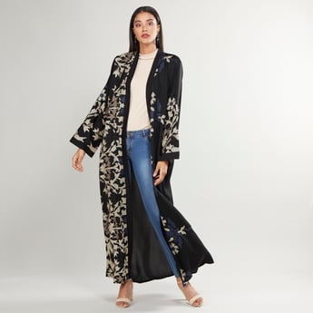 Printed Abaya with Long Sleeves and Tie Ups
