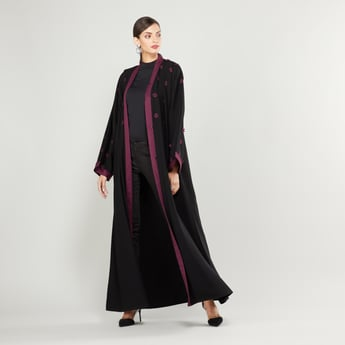 Floral Print Abaya with Long Flared Sleeves