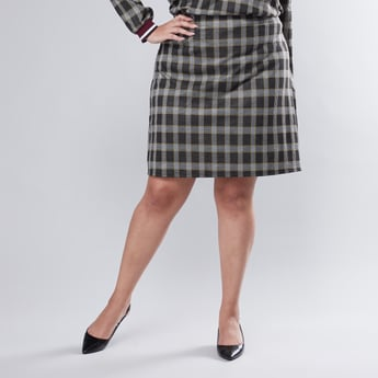 Chequered A-line Midi Skirt