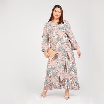 فستان طويل إيه لاين بياقة V وأكمام طويلة وطبعات