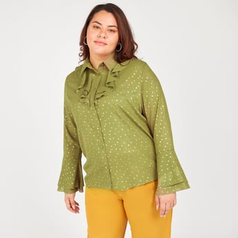 Printed Button-Down Shirt with Spread Collar and Flute Sleeves