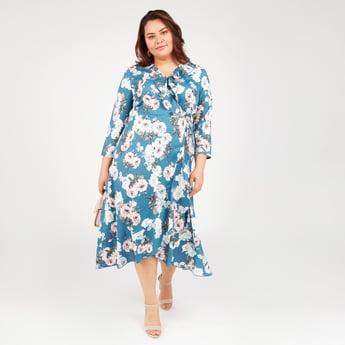 Floral Print Asymmetric Midi Dress with 3/4 Sleeves