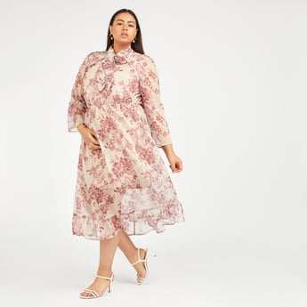 Floral Print A-line Midi Dress with Pussy Bow and Long Sleeves