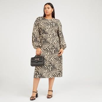 Zebra Print A-line Midi Dress with Long Puff Sleeves
