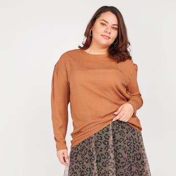 Solid Top with Round Neck and Long Sleeves