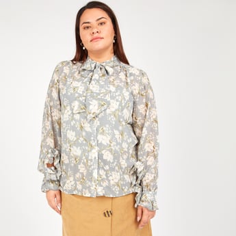 Printed Top with Pussy Bow and Long Sleeves