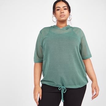 Textured Hooded T-shirt with Short Sleeves