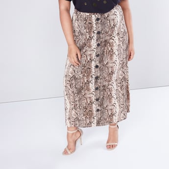 Animal Printed Midi Skirt with Button Detail