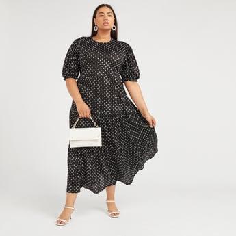 Polka Dots Print A-line Maxi Dress with Short Sleeves