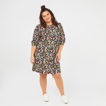 Floral Print Mini Shift Dress with Crew Neck and 3/4 Sleeves
