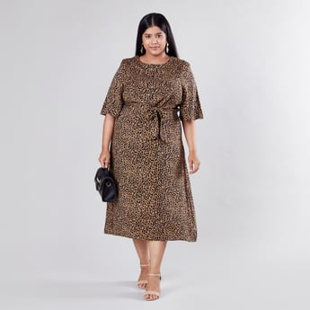 Animal Printed Midi A-line Dress with Short Sleeves and Tie Ups