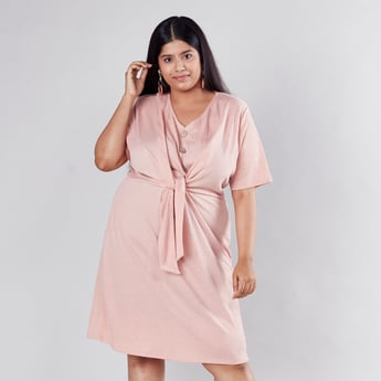Textured Midi Shift Dress with V-neck and Tie Ups
