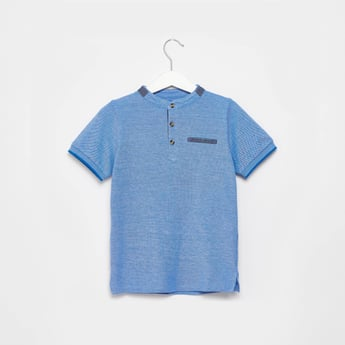 Solid T-shirt with Henley Neck and Short Sleeves