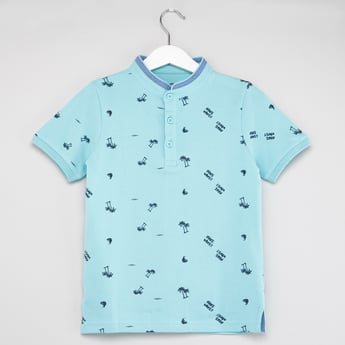 Printed Henley T-shirt with Short Sleeves