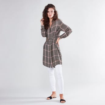 Checked Tunic with Long Sleeves
