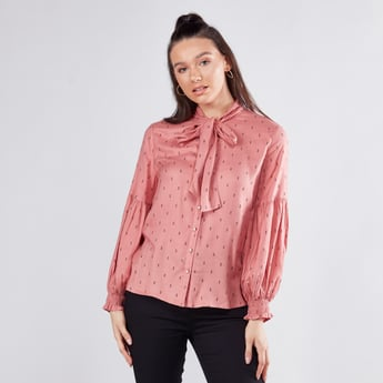 Patterned Bow Neck Top with Long Sleeves