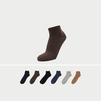 Set of 7 - Textured Ankle Length Socks with Cuffed Hem