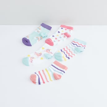 Unicorn Printed Ankle Length Socks - Set of 5