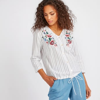 Floral Embroidery Top with Stripe Detail and Tie Ups