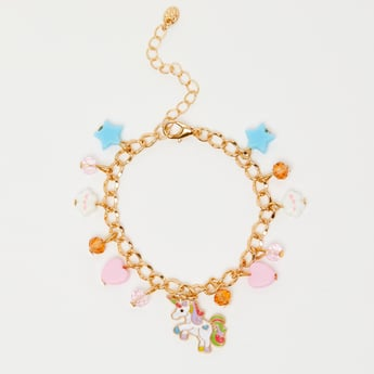 Embellished Charm Bracelet with Lobster Clasp