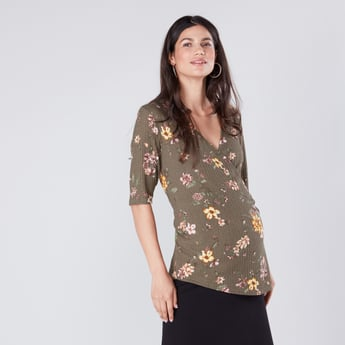 Maternity Floral Printed Top with V-Neck and 3/4 Sleeves