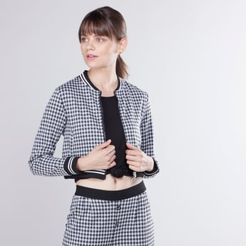 Chequered Crop Bomber Jacket with Long Sleeves