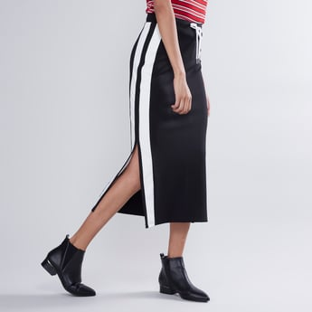 Striped A-line Midi Skirt with Drawstring and Side Slit