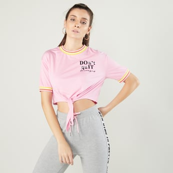 Printed Crop T-shirt with Round Neck and Knot Detail