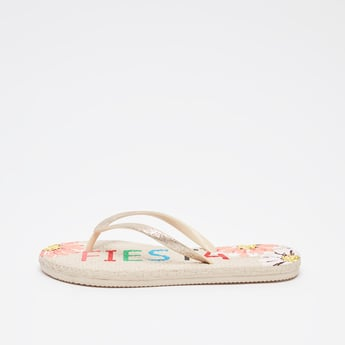 Graphic Print Thong Style Flip Flops
