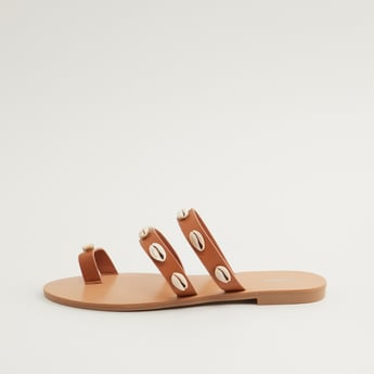 Slip On Toe Ring Flat Sandals