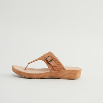 Textured Sandals with Pin Buckle Applique