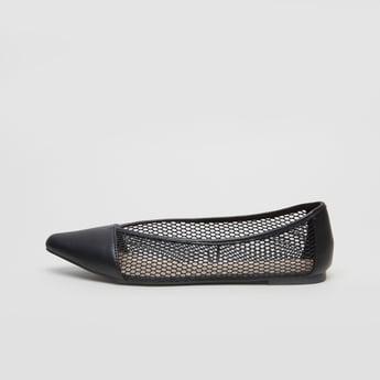 Mesh Textured Ballerina Shoes